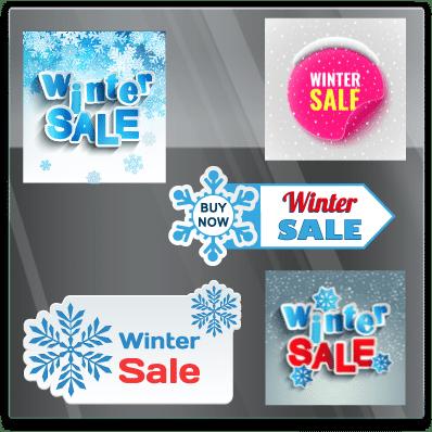 Winter etalage sticker